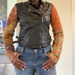 Spanish style faux leather biker jacket